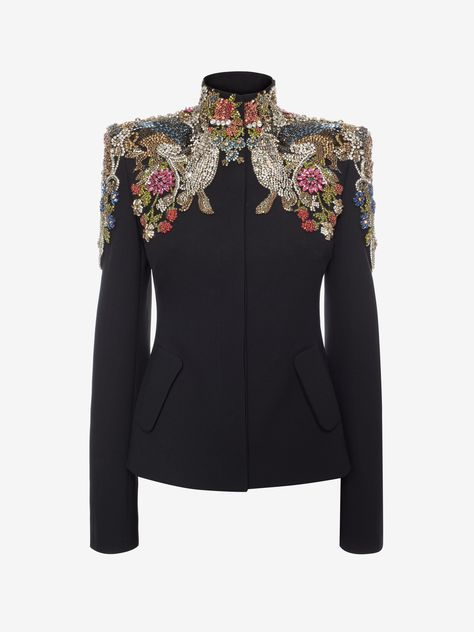 Shop Women's   Jewel Embroidered Tailored Jacket  from the official online store of iconic fashion designer Alexander McQueen.
