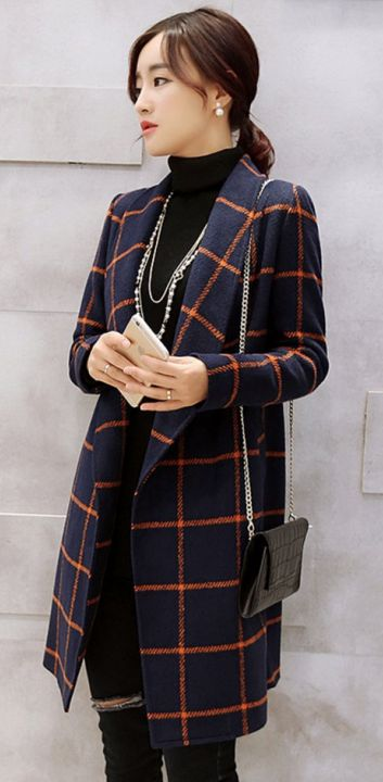 Woolen coat, Women, Women jackets, korean plaid coats, navy blue ...