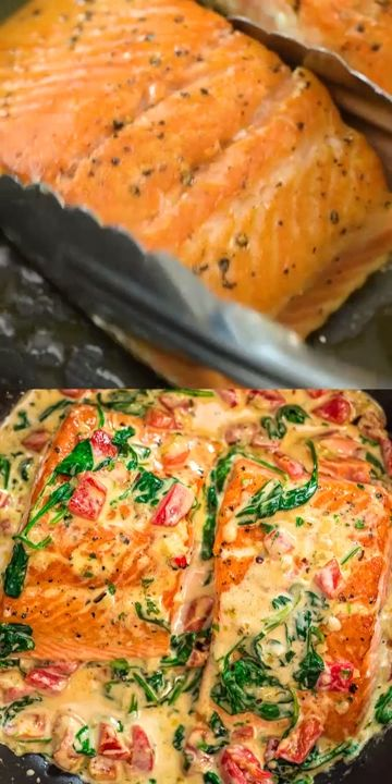 Ingredients Gluten free∙ Serves 2 Seafood 2 Salmon fillets (skin on (about 1 lb.)) Produce 4 cups Baby spinach, fresh 3 cloves Garlic 1/4 cup Parsley Baking  Spices 1/4 tsp Red pepper flakes 4 oz Red peppers, roasted 2 Salt and pepper Oils  Vinegars 1 tbsp Olive oil Dairy 1 tbsp Butter 1/2 cup Half  half or heavy cream 1/4 cup Parmesan cheese, grated