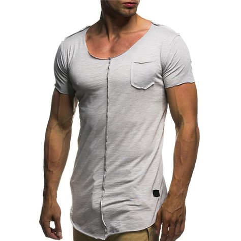 Men Short Sleeve Fitness Solid Slim Fit Long T Shirt SF – loveitbabe
