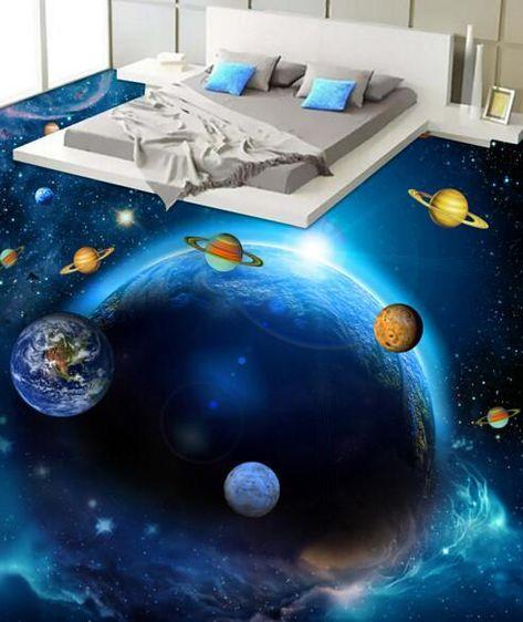 3D Colorful Universe Floor Mural   AJ Wallpaper