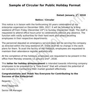 Public Holiday Announcement Mail/Notice/Memo Format to Staff