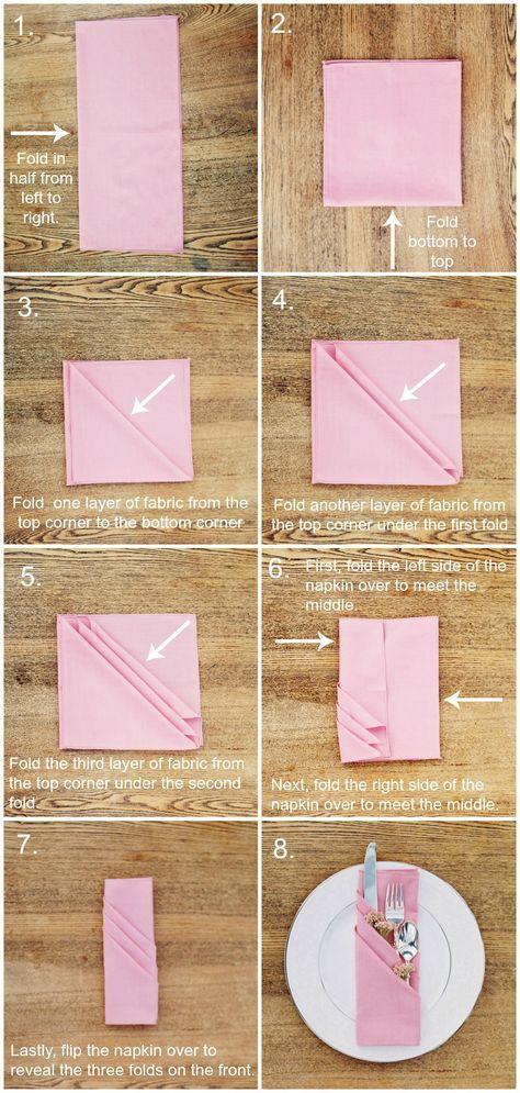 Three Pocket Fold Napkin Tutorial Folding Napkins Crafts