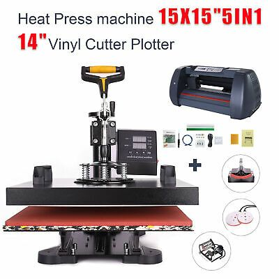Ebay Sponsored 5in1 Heat Press Machine 15 X15 Vinyl Cutter Plotter 14 Usb Port Sticker Print Heat Press Machine Press Machine Best Heat Press Machine