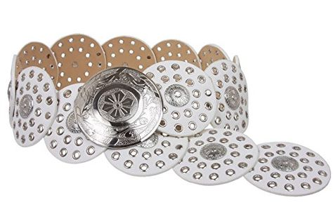 """90 mm 3 1//2/"""" Wide Ladies Wide Boho Disc Concho Leather Belt"""