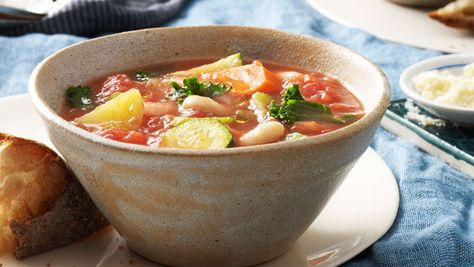 """Mark Bittman's Minestrone: """"This minestrone from my new book is a simple, delicious vegetable soup made with olive oil, tomatoes, and Parmesan cheese. I've served dozens of variations over the years, often to my kids (who like it with beans)."""""""