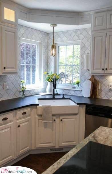 A Sink In The Corner Practical Kitchen Corner Units Corner Kitchen Cabinet Kitchen Sink Decor Kitchen Layout