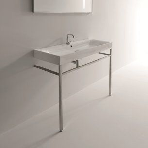 Ws Bath Collections Cento 3534 9123k1 Free Standing Bathroom Sink 47 2 X 17 7 Bathroom Console Rectangular Sink Bathroom Wall Mounted Bathroom Sinks