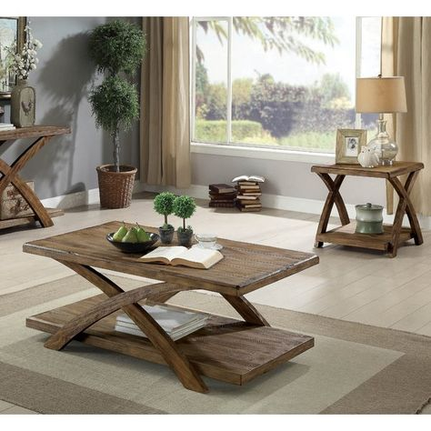 Jaylon 3 Piece Coffee Table Set Living Room Table Sets Rustic