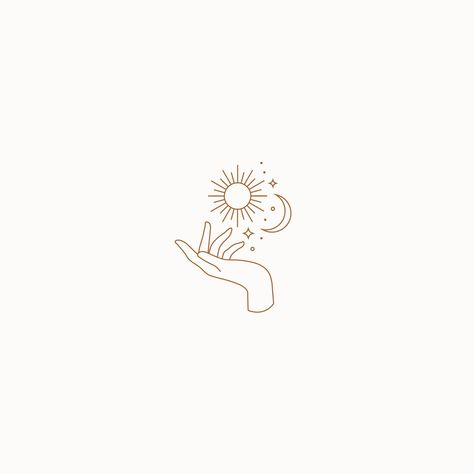 Personal Branding made by MinimalMarks, Monoline Moon & Sun Logo, Feminine Boutique Branding, Minimal Skincare Logo, One Mini Tattoos, Line Art Tattoos, Body Art Tattoos, Small Tattoos, One Line Tattoo, Tatoos, Simple Line Tattoo, Tattoo Mond, Et Tattoo