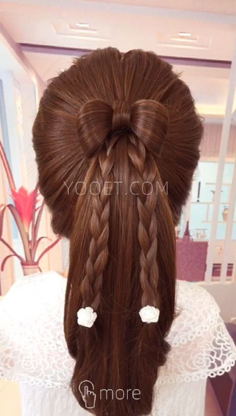 Bow Horsetail Hair Style - #horsetail #style - #HairstyleCool
