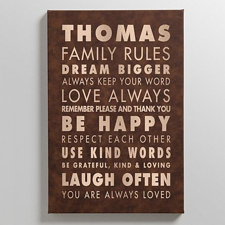 Family Rules Leather Wall Art Great Gift For Any Family Member Family Rules Leather Wall Kind Words