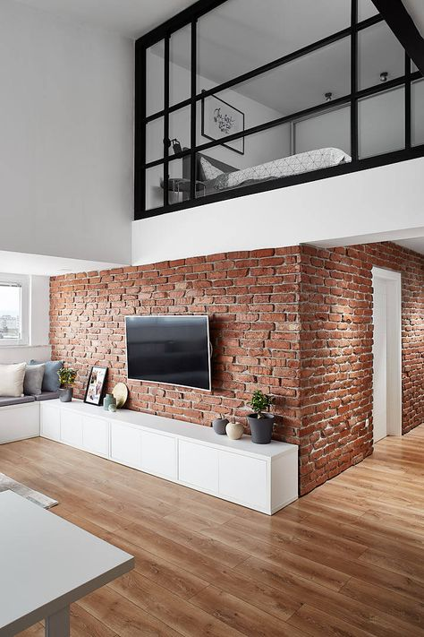 Today's home is a great example how to design your small loft apartment. It was created in 2018 by Dita Luarasi Abdiu & located in Skopje, Republic of Macedonia. Industrial Apartment, Industrial Interior Design, Industrial House, Home Interior Design, Industrial Style, Modern Loft Apartment, Decor Industrial, Urban Apartment, Contemporary Apartment