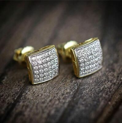Men Women 14K Yellow Gold Over 925 Sterling Silver Diamond Square Stud Earrings