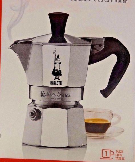 Expresso Coffee Maker Bialetti Moka Express Stovetop 1 Cup Silver