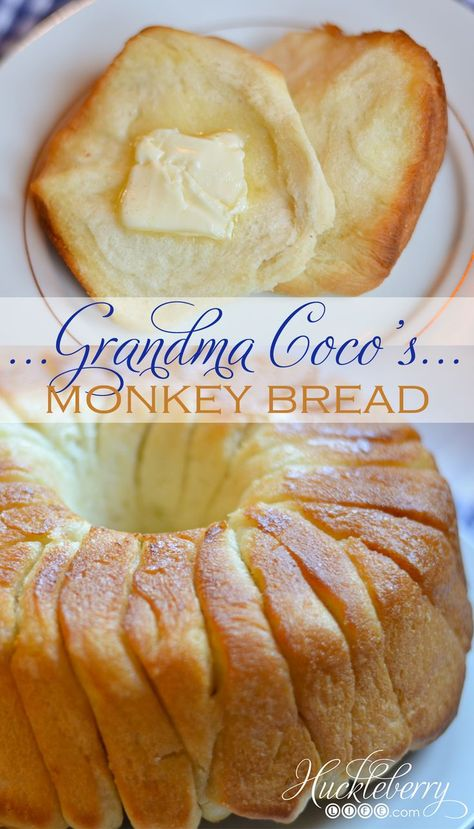 Grandma Coco's Monkey Bread is so soft and buttery. It is baked in a bundt pan and the sections just pull apart. It's a simple bread recipe and a real crowd pleaser. Grandma Coco always serves her mon Best Bread Recipe, Easy Bread Recipes, Scone Recipe Easy, Coco Bread Recipe, Simple Bread Recipe, Simple Food Recipes, Challah Bread Recipes, Artisan Bread Recipes, Bread Maker Recipes