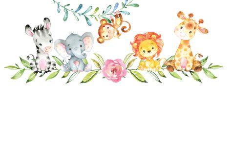 Sweet Safari Animals Baby Shower Invitation