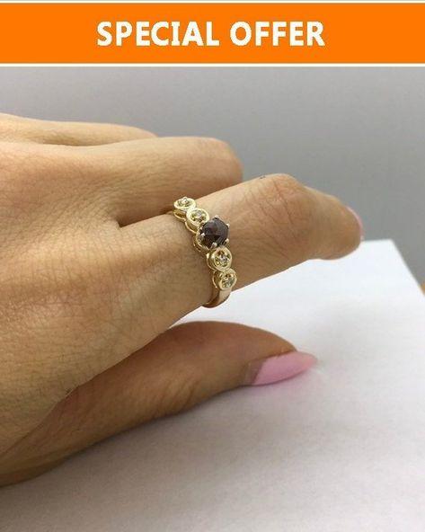 Array - rose cut dark red diamond ring in yellow gold   engagement      rh   pinterest com