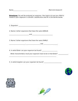 Classification Taxonomy Worksheet Answer Key - worksheet