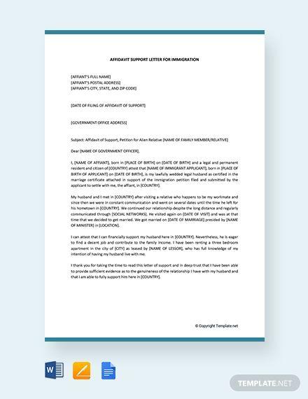 Affidavit Of Support Letter Template For Immigration Free Pdf Word Apple Pages Google Docs Support Letter Proposal Letter Lettering