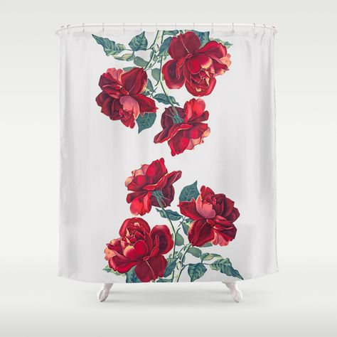Red Roses Shower Curtain Floral Shower Curtains Rose Shower