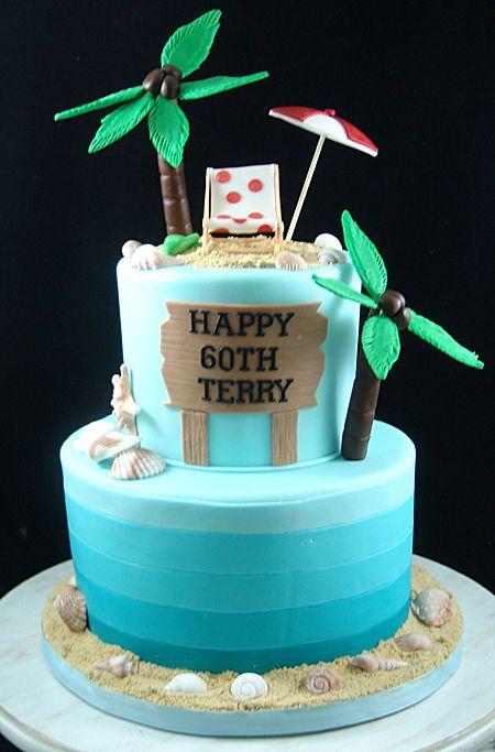 Retirement Birthday Cake With Beach Theme Beach Birthday Cake
