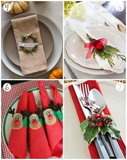 maneras de decorar servilletas en navidad