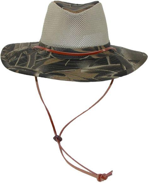 2279b4a6ea838 CTM® Mens Cotton Vented Camo Safari Hat with Wind Cord