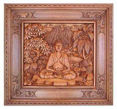 Wood Relief Panel Buddha In The Forest Hand Carved Wood Wall Sculptures Wooden Wall Decor