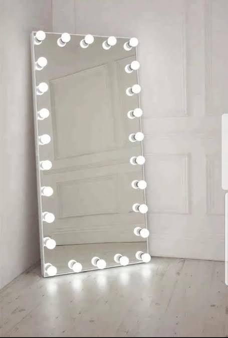Ideas Bedroom Aesthetic Room Decor, Big Standing Mirror With Light Bulbs