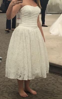 Tea Length Drop Waist Lace Wedding Dress Style Wg3719 Ivory 8
