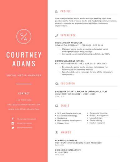 Social Media Marketing Resume In 2020 Infographic Resume Graphic Design Resume Free Online Resume Builder