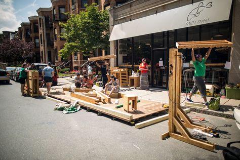 The installation of the Gateway Parkolation Project parklet outside of Mei Mei Street Kitchen