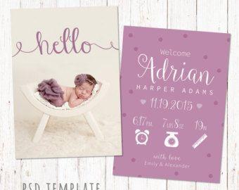 Vorlage Fur Die Ankundigung Der Geburt Neugeborenen Karte Etsy Birth Announcement Template Baby Girl Birth Announcement Cards Birth Cards