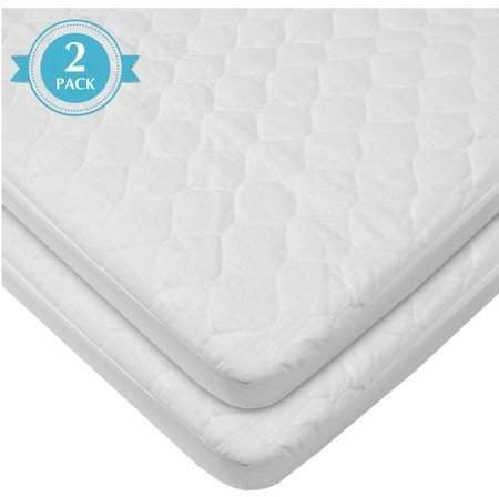 American Baby Company Waterproof Fitted Quilted Portable Mini Crib Mattress Pad Cover 2 Count Whit Crib Mattress Pad Mattress Pad Cover Waterproof Mattress Pad