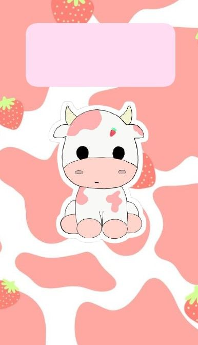 Cute Pink Cow Strawberry Milk Wallpaper Lockscreen In 2021 Cow Wallpaper Cow Print Wallpaper Wallpaper Iphone Cute