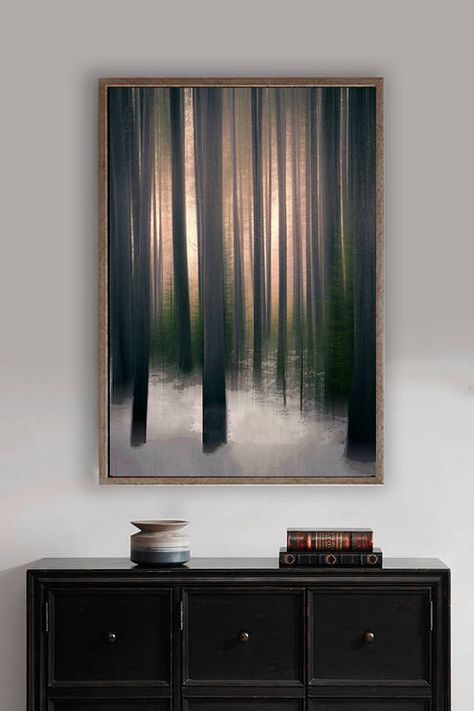 Abstract Tree Art -- An abstract photo of trees in a snowy forest by Lynn Langmade -- a soothing brown photo of snowy woods with warm light breaking through the trees on a cold winter morning. You can almost feel the beautiful peach, copper light warming up the woods, and its sure to