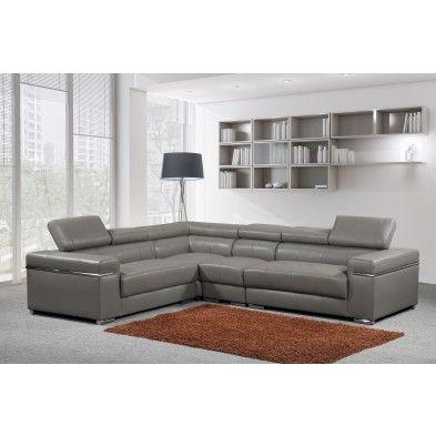 Canapé d angle droit gris et blanc convertible en tissu et PU