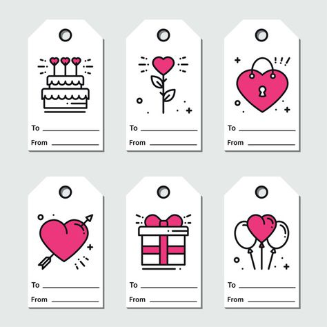 St valentine's day gift tags. Premium Vector