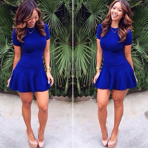 Blue skater dress with nude shoes