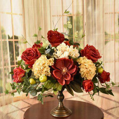 Astoria Grand Mixed Floral Arrangement And Centerpiece In Vase Silk Floral Centerpiece Silk Flower Centerpieces Silk Hydrangeas