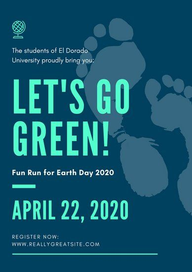 Turquoise And Navy Blue Footprint Earth Day Poster Earth Day Posters Blue Footprints Day