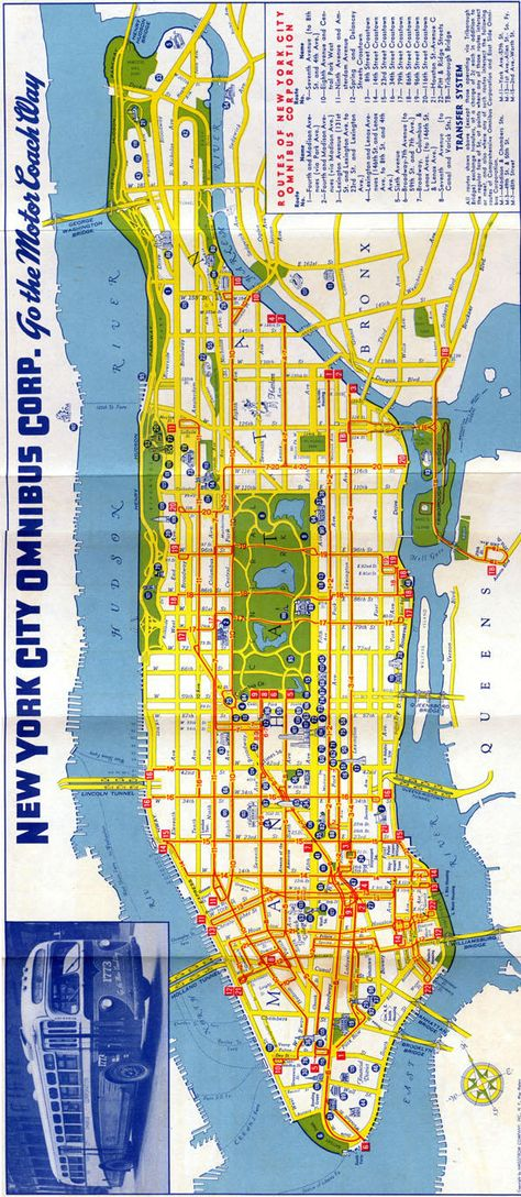 New York City Omnibus Co Bus Map Late Searly S - Queens bus map