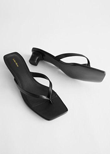 Leather Kitten Heel Flip Flop Black Heeled Sandals Other Stories In 2020 Heeled Flip Flops Sandals Heels Leather Flip Flops