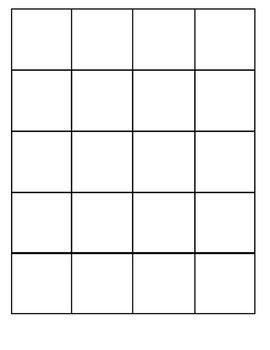 Large Grid Squares Grid Game Bingo Card Template Grid