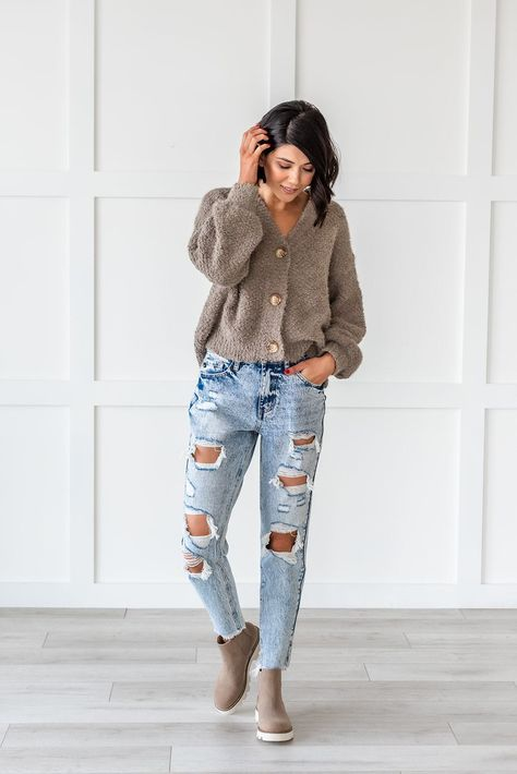 Girl Gang Stone Washed Distressed Jeans - 1