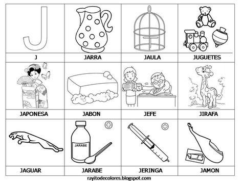 Resultado De Imagen Para Dibujos Que Empiecen Con La Letra J Con Imagenes Actividades De Letras Lectoescritura Abecedario Para Ninos