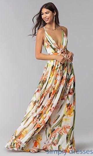 Open Back Floral Print Formal Wedding Guest Dress Formal Wedding