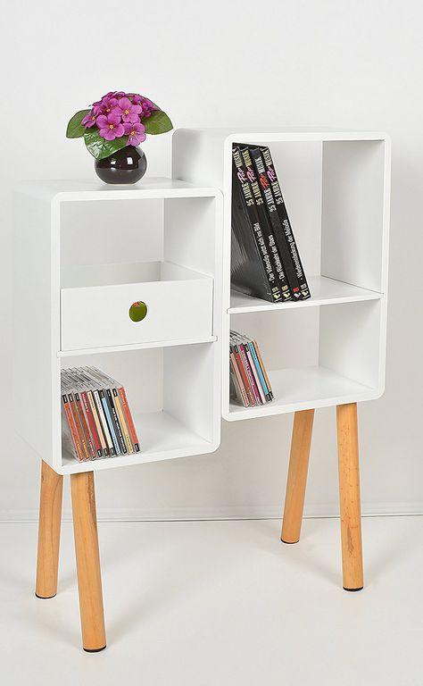 Lounge Regal Design Retro 70er Cube Wohnzimmer Standregal Holzfusse