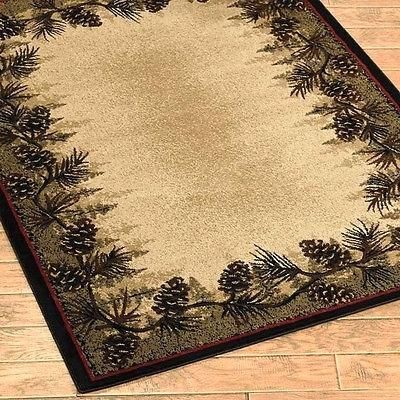 Pine Cone Forest Border Rustic Cabin Area Rug 7 Sizes 2 Round Or
